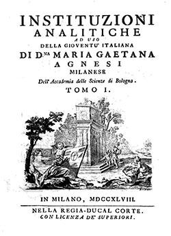 Instituzioni analitiche M G Agnesi